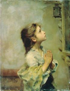 R.Ferruzzi, Betendes Maedchen - Ferruzzi / Girl Praying / Painting -